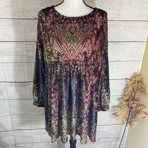Free People Mirror Mirror Wine Combo Dress